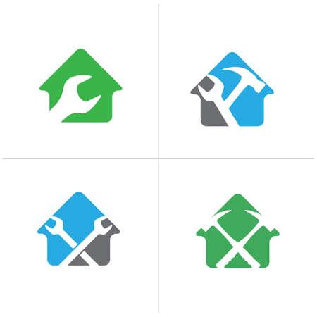 Set of automobile logo. wrench in home mechanic, wheel logo designs. car repair service vector icons, garage logos.