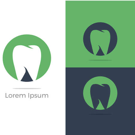 Dental care logo icons set, tooth in shield, home, apple and heart illustration.