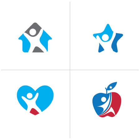 Kid in heart and house icon. Health and care medical fitness illustration