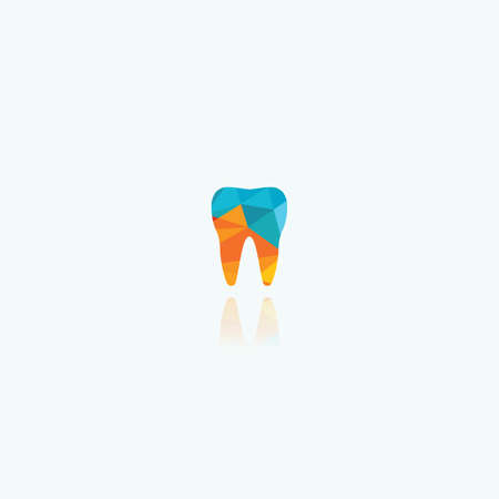 Dental logo. Tooth and boat in river vector logo design. Ilustrace