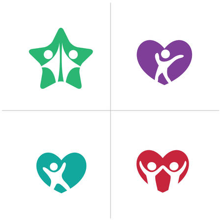 Happy kids logo design. Happy family, Health and care icons, happy kid in heart and star vector. Medical care and hospital icons.