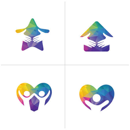 Low poly Happy home logo designs. Happy family, Health and care icons, Low poly happy kids vector Ilustrace