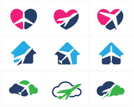 Travel logos set design, airplane in home, heart and cloud, tourism vector icons.