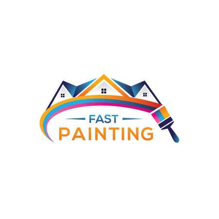 Paint home sign icon. Painting tool symbol. rainbow color home illustration. Ilustracje wektorowe