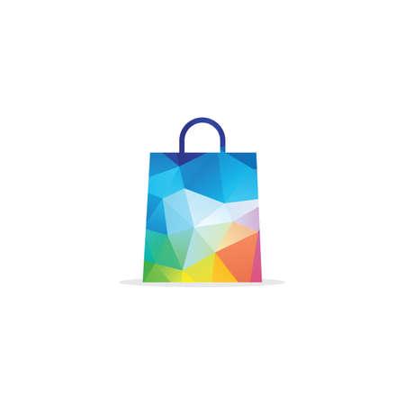 Low poly shopping plastic bag vector logo design illustration.