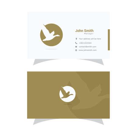 Duck logo, abstract bird flying vector design, animal card, Pelican business card design. Stock Illustratie