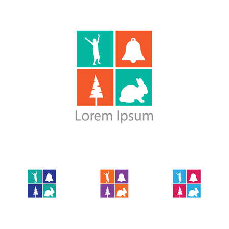 Colorful art kids vector, school children logo design. Illustration