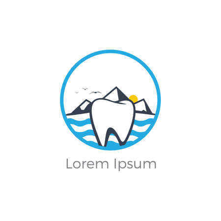 Dental logo. Tooth and boat in river vector logo design. Ilustracja