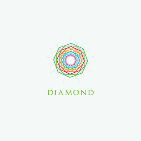 Diamond logo design, Crushing abstract pattern. Colorful precious stone logotype. Jewelry shop logo. Banque d'images - 140821726