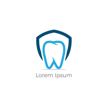Dental care logo design. Tooth in shield vector illustration. Teeth safety and care. Ilustracja