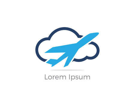 Travel logo design. Airplane in cloud vector illustration. Holidays and tourism symbol.
