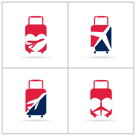 Travel logos set design. Ticket agency and tourism vector icons, airplane in bag and globe. Luggage bag logo, world tour illustration, plane in heart shape symbol. Ilustracja