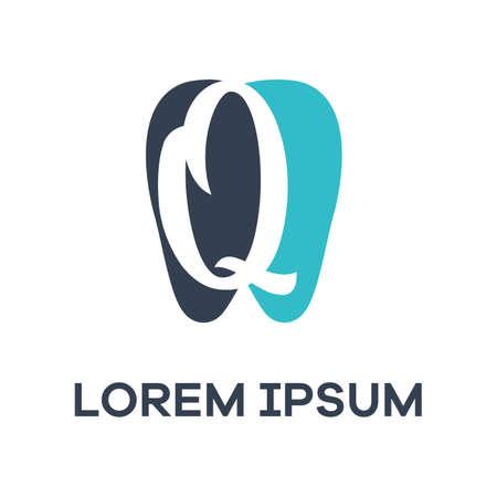 Q letter logo design. Letter q in tooth shape vector illustration. Dental logo design.