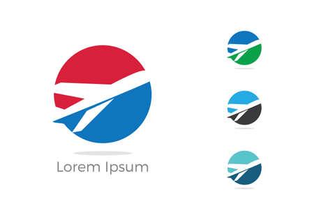 Travel logo design. Airplane in circle vector illustration. Holidays and tourism symbol. Ilustracja