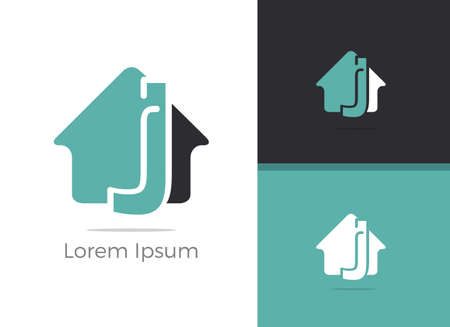 Real Estate J letter logo design, letter J in home vector icon.