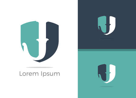 Safety and security J letter logo design, letter J in shield vector icon.