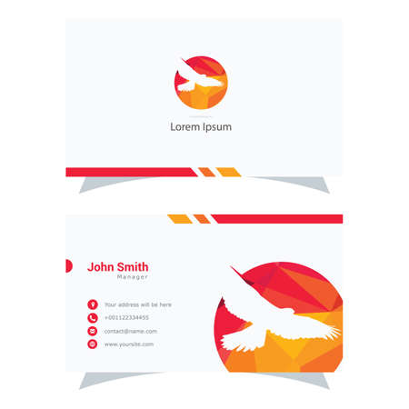 Polygonal Eagle logo, colorful falcon low poly hawk bird vector design, bird business card.