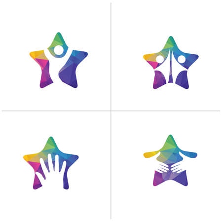Low poly Happy star logo designs. Happy family, Health and care icons, winner and victory kids vector,