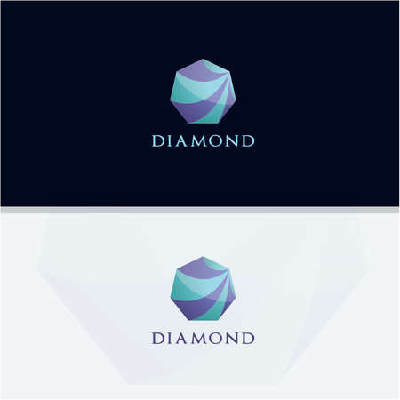 Diamond logo design, Crushing abstract pattern. Colorful precious stone logotype. Jewelry shop logo. Stock Illustratie