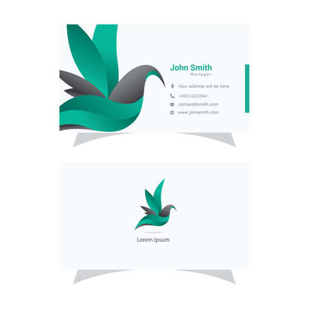 beautiful bird logo and business card, colorful bird, abstract dove vector