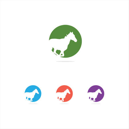 colorful illustration, animal, horse, wildlife, love, care vector logo design