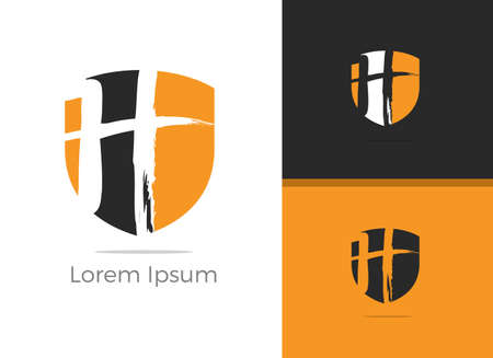 Safety and Security letter H logo design, H letter in shield vector icon.