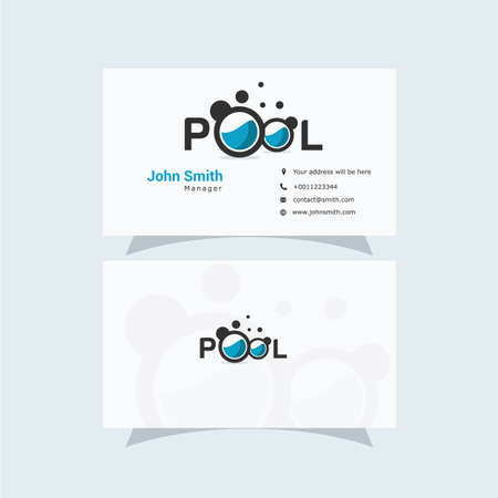 Business Card Design with Clean and Elegant Swimming Pool Logo.