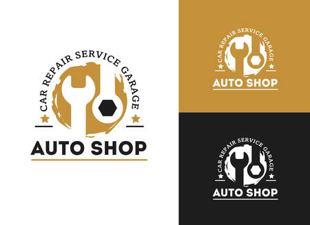 Automobile, car repairing service logo design, wrench in gear icon, mechanic tools vector illustration. Stock Illustratie