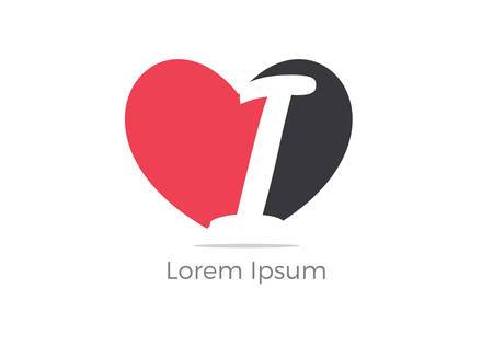 Love I letter logo design, letter i in heart vector icon.