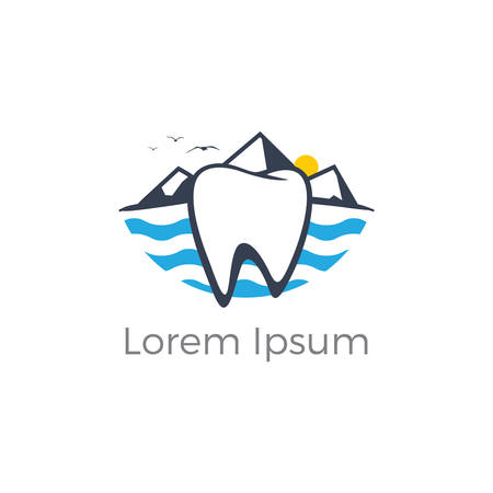 Dental logo. Tooth and boat in river vector logo design. Stock Illustratie