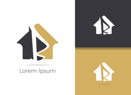 B letter logo design, letter B in home vector icon.