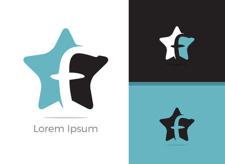 F logo design, letter f in star vector icon.