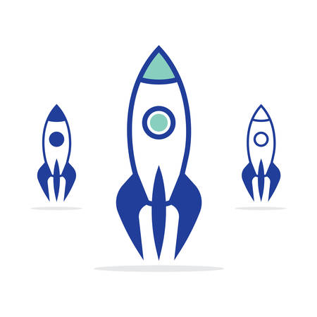 Rocket vector icon. Space rockets vector set.