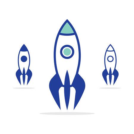 Rocket vector icon. Space rockets vector set.
