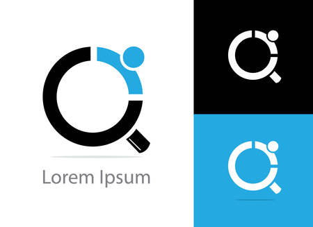 Recruitment agency vector illustration, magnifying glass icon.