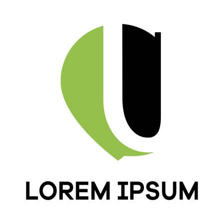 Letter u in location pin shape vector illustration.