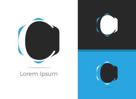 C letter logo design, letter C in hexagon vector icon.