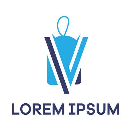 Letter V in sale discount tag vector illustration.