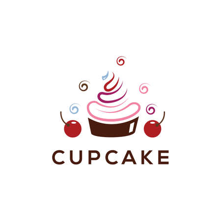Cupcake, Yogurt logo , Ice cream vector logo design.