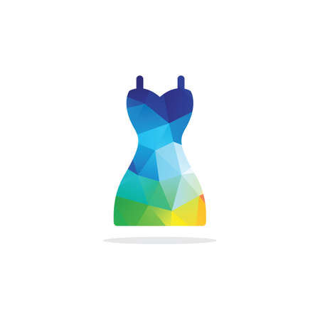 Colorful dress, low poly style woman dress, hexagon suit