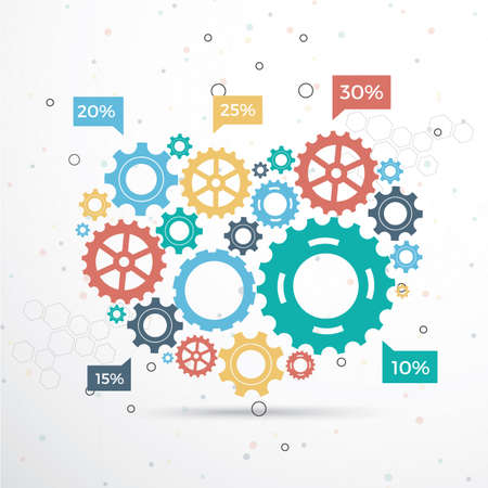 vector template Infographic with gear chain. Gears vector design, Gear Infography Vector Illustration
