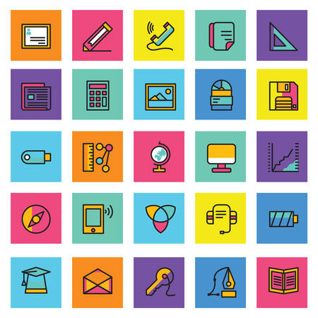Web vector icons, Colorful icon designs, flat icons set,