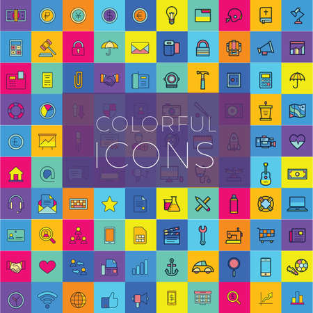 Web icons, Colorful icon designs, flat icons set, beautiful icons, business and technology icons, outline icons. Çizim