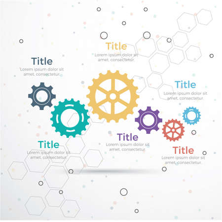 template Infographic with gear chain. Gears design, Gear Infographic