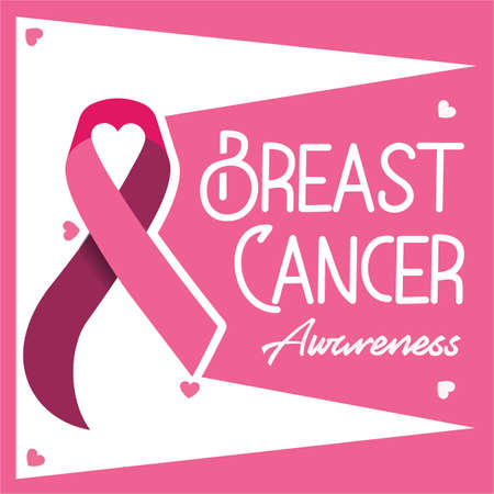Breast cancer awareness campaign vector poster design. Strong woman breast protection message illustration. Çizim