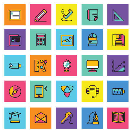 Web vector icons, Colorful icon designs, flat icons set, beautiful icons, business and technology icons, outline icons. Çizim