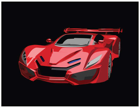 Sports Red Car on black background vector illustration. Sporty car vector icon. Red Racing car Front View. Ilustrace
