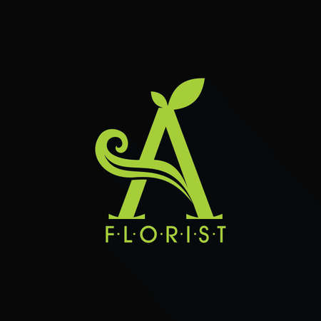 Logo A Letter And Leaf Logo Design Stock fotó - 129777136
