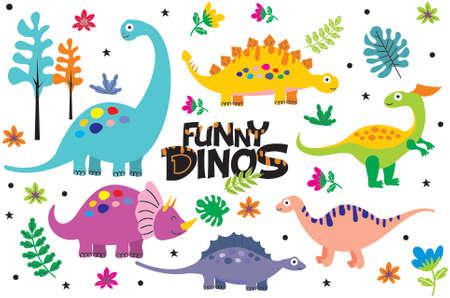 Cute happy smiling funny dinosaur vector