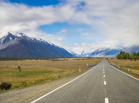 newzealand: Road to Mt. Cook in New-Zealand, South Island